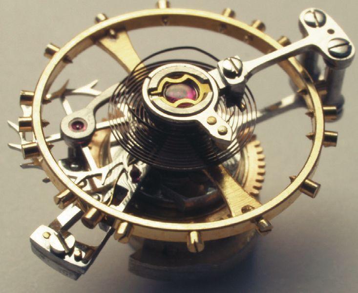 Собранная каретка парящего турбийона, диаметр анкерного колеса 5,5 мм