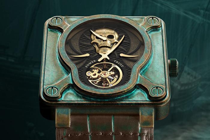 Bell & Ross BR-01 Skull Bronze Tourbillonвкорпусеиз состареннойбронзы