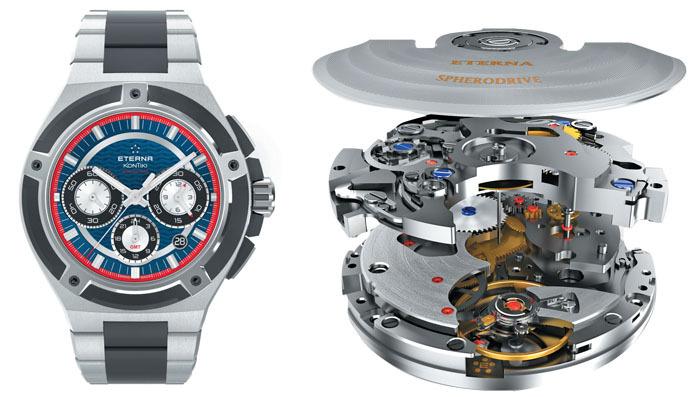 Калибр Eterna 3927A, установленный в новых часах Royal KonTiki Chronograph GMT
