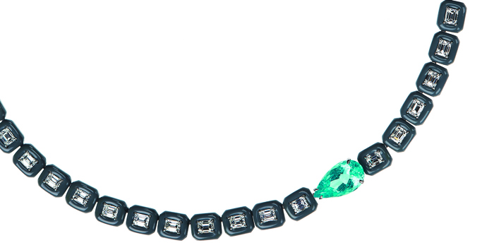 Nikos Koulis, колье Oui, бриллианты в эмальерной рамке, параибский турмалин