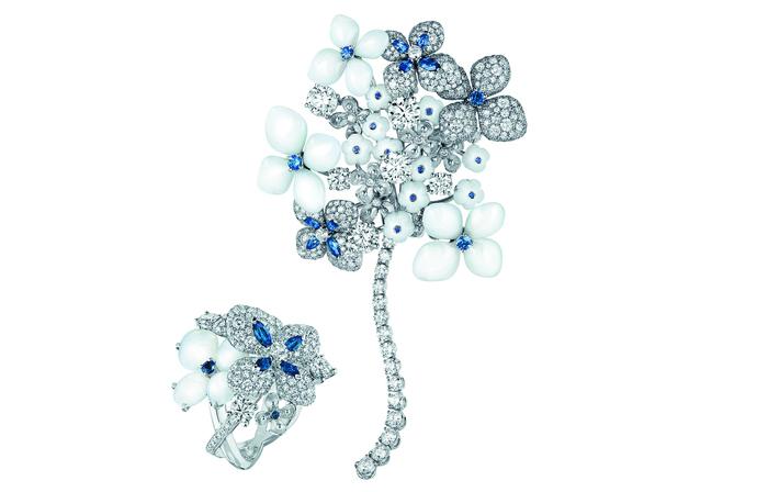 Chaumet Hortensia High Jewellery, подвижная брошь и кольцо