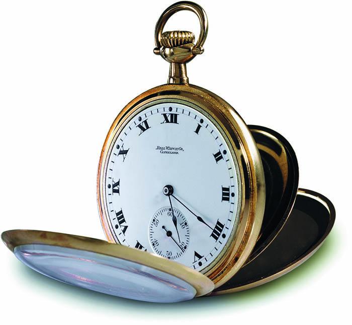 Ball Watch Co, карманные часы с золотым покрытием, 1898 г.