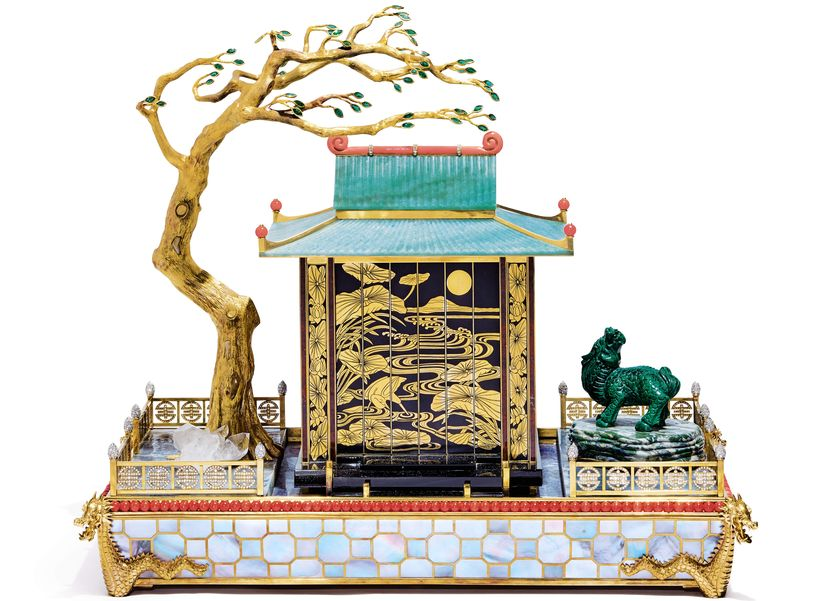 Часы Cartier, Le Temple Chinois Au Dragon Mystery Clock